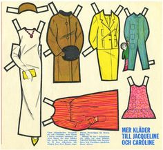 Swedish Jackie and Caroline Kennedy paper doll clothes.