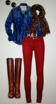 Red pants for fall! Adorable!! Doing this for sure!