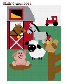 Farm Animals No2  Horse Pig Lamb Rooster Afghan Crochet Pattern Graph