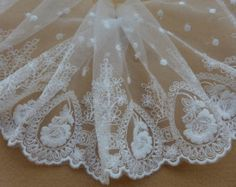 White Tulle Lace Trim Embroidery Flowers Dots Lace Trim For Wedding Dress, Bridal Veils, Costume design