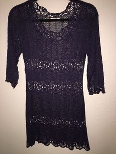 """Women's Crochet Knit Shift Dress. possibly rayon. length - 29"""" from the back neck. Chest - 16"""" laying flat armhole to armhole. Size 14 UK. US Size 10. Sleeves - 10"""" from the armhole. Does have some stretch.   eBay!"""