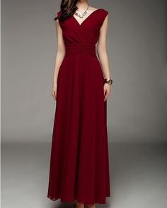 Wine red Long Dress Fit Chiffon Dress OL STYLE -LYQ051