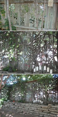 Stick hundreds of mirror shards on garden fence to give it a gorgeous look