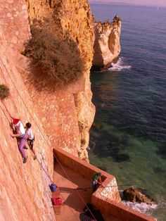 rock climbing in Lagos, Portugal.. Just show me the ropes