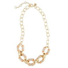 "J. Crew Statement-stripe necklace in corral / ""vibrant flame"" color."