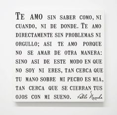 Spanish Pablo Neruda Love Canvas, Sonnet 17 Poem, Romantic Quotes, Bedroom Art, Wedding Anniversary, Modern Minimalist Gray Grey Wall Decor