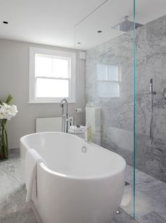 Laura Hammett - bathrooms - marble bathroom, open shower, open shower ideas, rain shower head, gray marble, gray marble shower tiles, gray m.... Medium Bathroom Ideas | Houzz Master Bathrooms Traditional | Modern Bathroom Designs Pictures | Modern Bathroom Decor. #luxuryhomes #classicstyle. Click on the image for additional details.