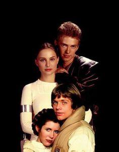 Skywalker family (Natalie Portman, Hayden Christensen, Mark Hamill and Carrie Fisher)