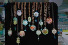 Some of my new resin necklaces.  Real seahorses, starfish, sand dollars.  Handpainted backgrounds and bezels.  Triple pour of ice resin.