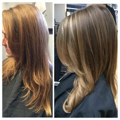 Subtle Ombre Balayage Highlights! Really trendy this Summer!! Before and after
