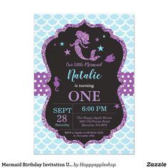 Shop Mermaid Birthday Invitation Under the Sea Party created by Happyappleshop. Personalize it with photos & text or purchase as is! Girl Birthday Themes, Girl First Birthday, 1st Birthday Parties, Birthday Diy, Birthday Cards, Birthday Gifts, Summer Birthday, Birthday Ideas, Happy Birthday