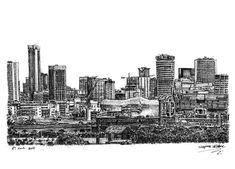 Birmingham skyline - drawings and paintings by Stephen Wiltshire MBE