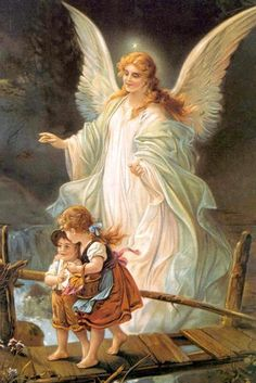 I have this painting in my house. Guardian Angel and Children Crossing Bridge Painting by Lindberg Heilige Schutzengel Angels Among Us, Real Angels, Guardian Angel Pictures, Angel Images, Angel Wings Pictures, Angel Protector, Friday Pictures, God Pictures, Angel Prayers