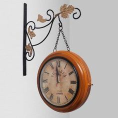 Best Buy Home Sparkle Two Sides Station Brown Wall Clock @ Rs 1432