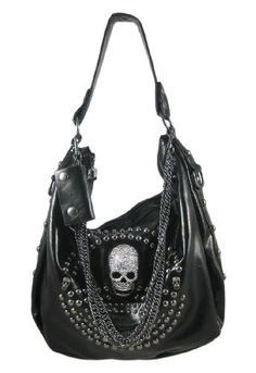 Ladies Handbag Briefcase Wallet Purse Skull Skull Faux Leather