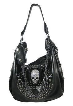 Glossy Black Gunmetal Studded Rhinestone Skull Handbag Things2Die4.