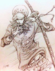 One Piece, Trafalgar Law One Piece Drawing, One Piece Manga, One Piece Series, One Piece Pictures, Trafalgar Law, Good Manga, Anime Sketch, Anime Art, Nerd