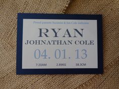 Baby Boy Birth Announcement Card by CreateTheDate on Etsy, $3.20