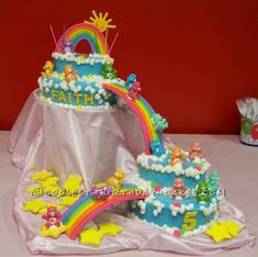 Care Bear Birthday Cake on draped pink satin; yellow star cookies added a punch of color