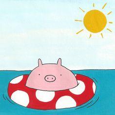 Sunshine Pig  5x5 Digital Print by Hikaru811 on Etsy, $8.00