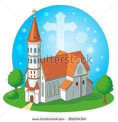 Christian church with cross, vector illustration. - stock vector