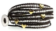 Angel Heart Silver Bead & Gold Plated Hearts on Genuine Leather Extra Long 5x Wrap Bracelet, Gift Box - http://www.wonderfulworldofjewelry.com/jewelry/bracelets/wrap/angel-heart-silver-bead-gold-plated-hearts-on-genuine-leather-extra-long-5x-wrap-bracelet-gift-box-com/ - Your First Choice for Jewelry and Jewellery Accessories
