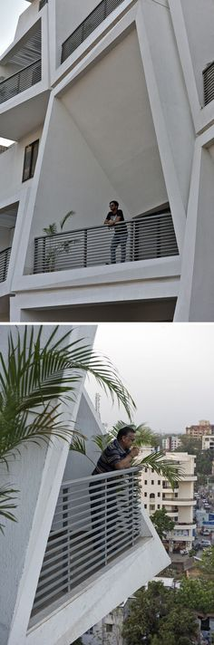 Sanjay Puri Architects have designed Ishatvam a 15 storey residential building in Ranchi, India, that features uniquely shaped private outdoor spaces for each apartment. Balcony Grill Design, Balcony Railing Design, Apartment Plants, Apartment Design, Facade Design, Exterior Design, Balustrade Balcon, Grades, Canopy Outdoor