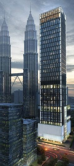 W Hotel & Residences, Kuala Lumpur, Malaysia by Skidmore, Owings & Merrill (SOM) :: 50 floors, height Modern architecture skyscrapers Hotel Architecture, Commercial Architecture, Futuristic Architecture, Amazing Architecture, Architecture Design, Interesting Buildings, Amazing Buildings, City Buildings, Modern Buildings