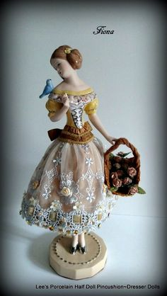 Items similar to Porcelain half doll Pincushion Dresser Doll W/LEGS-Art Doll-Boudoir Doll-OOAK Original Artist Design-Collectible Porcelain Doll on Etsy Antique Dolls, Vintage Dolls, Vintage Stuff, Vanity Table Vintage, Leg Art, Half Dolls, Ribbon Work, Objet D'art, Dollhouse Dolls