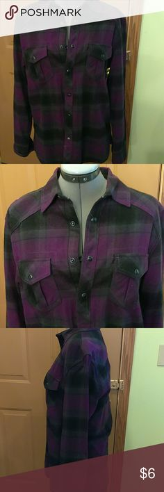 EUC, FLANNEL SHIRT, CUTE & COMFY Purple, Gray & Black Plaid Flannel, 100% Cotton, This Is A Men's Small, I Bought It For Myself & At The Time I Wore a Women's Medium, Excellent Condition, Only Worn 2 Times Route 66 Shirts Casual Button Down Shirts