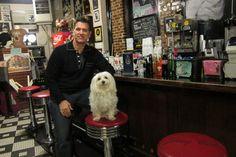 Chris Isaak with his faithful companion