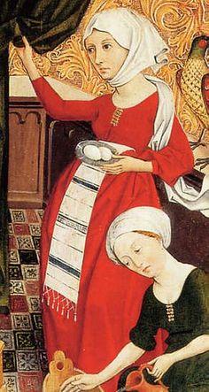 Rotes kleid, Oberrheinischer Meister: Die Geburt Mariens. Um 1460/65 detail on the embroidered apron