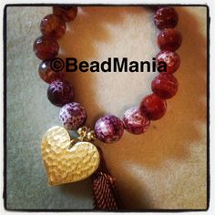 Agate and goldfilled stretch bracelet, handmade in BeadMania, the funnest and hippest beadstore in the Caribbean! 787-744-7664