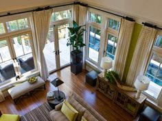 Step inside the great room at HGTV Dream Home 2013, a transitional room with high ceilings, walls of windows and a neutral color palette.