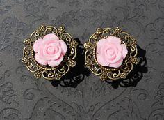 "Simply Adorable Light Pink Rose Flower Plugs - 0g, 00g, 7/16"", 1/2"", 9/16"" -ryarr.com"