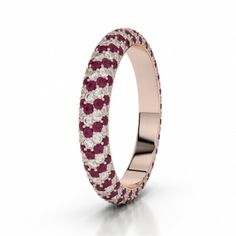 Ruby & Diamond Rose Gold Full Eternity Rings