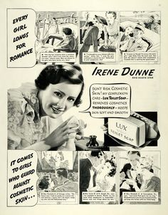 This is an original 1936 black and white print ad for Lux Toilet Soap. This ad features RKO Radio Star Irene Dunn. CONDITION This 75+ year old Item is rated Near Mint / Very Fine+. Light wrinkling. No