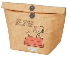 Snoopy PEANUTS Cooler Lunch Bag Wax Paper Look Bag