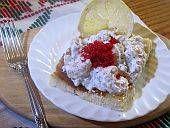 Toast Skagen - Wretman toast: shrimp, mayonaise, sour cream, dill, salmon roe.