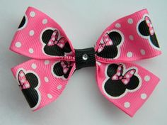 Minnie Mouse Hot Pink & White Polka Dots Grosgrain Ribbon Hair Bows *FREE SHIPPING*