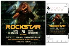 This flyer is perfect for promoting your next rock musical night party. Flyer Design Templates, Flyer Template, Concert Flyer, Instagram Design, Party Flyer, Model Photos, Be Perfect, Musicals, Social Media