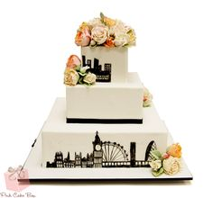 White and Black Wedding Cake by Pink Cake Box