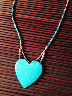 Vintage Hand Carved Genuine Blue Turquoise Heart Necklace with Sterling Silver Beads, Heart Jewelry, Blue Turquoise Necklace, Valentine's Gift for Her by ShopCheni, $65.00