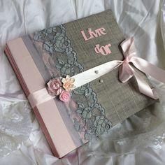 Livre d'or mariage « so romantic» gris et rose