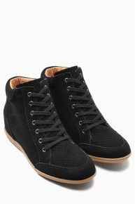 Buy Black Suede Wedge High Tops from the Next UK online shop Wedge High Tops, Black High Tops, Latest Fashion For Women, Mens Fashion, Black Suede Wedges, Plimsolls, Shoe Boots, Shoes, Black Boots