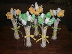 Pink and Green Bootie Bouquets Baby Shower Centerpieces and gifts other colors too. $12.50, via Etsy.