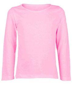 06f736eb Kids Long Sleeve Plain Basic Top Girls Boys T-Shirt Tops Crew Uniform Tee:  Amazon.co.uk: Clothing