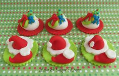 Dr. Suess style Fondant Topper Christmas Hats Elf shoes and by lovesugarkisses, $25.00