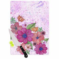 "Julia Grifol ""My Garden In Pink"" Magenta Floral Cutting Board - KESS InHouse #pink #home #flowers, #cuttingboard #homedeco, #kessinhouse #pink"