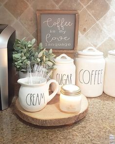 "It's been such a gloomy afternoon around here! Makes me  So having another cup☕ and got my @cozyhomeonline ""coffee house"" candle burning. Seriously yall it's the most true coffee scented  candle I've yet to find. So good And,  I just love my cute ""coffee is my love language"" sign from Jenny @our.rustic.nest"